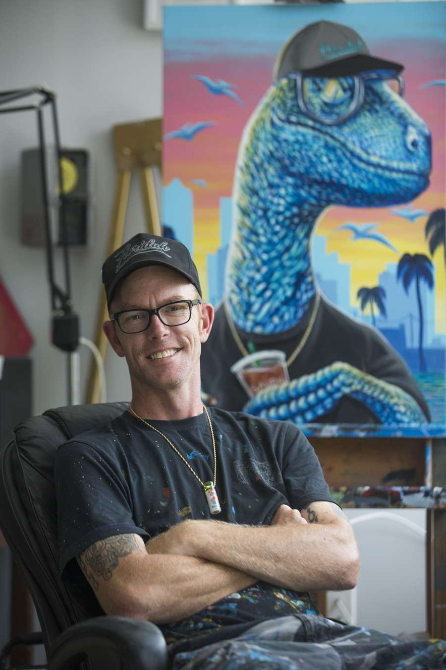 Derek Donnelly poses for a portrait in his studio in Pinellas Park on Thursday, May 24, 2018. Donnelly is a local artist who has painted many murals in Downtown St. Petersburg. EVE EDELHEIT | Times