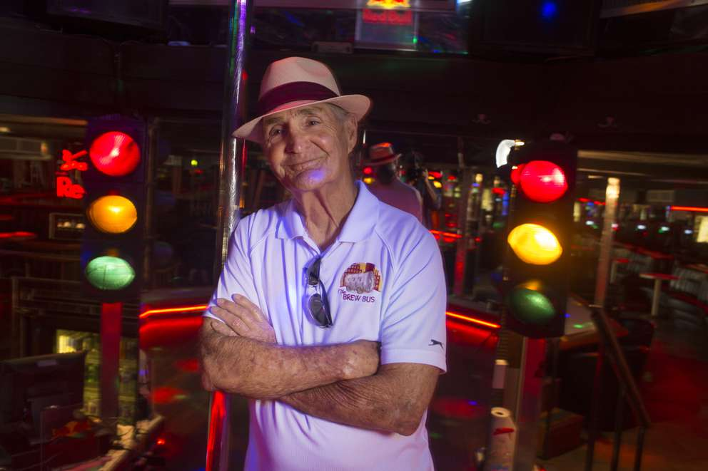 Joe Redner, owner of Mons Venus in Tampa, poses on the club's stage Wednesday, April 17, 2019. JOHN PENDYGRAFT | Times