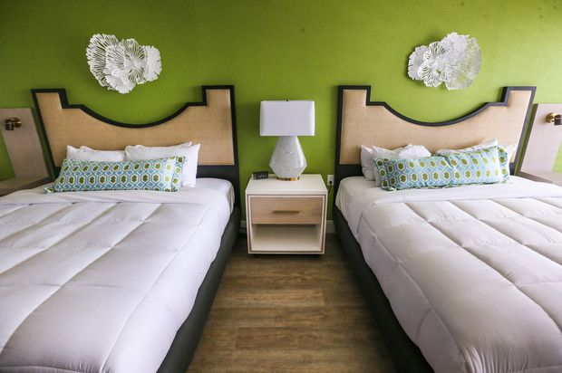 One of the guest rooms at the Bellwether Beach Resort.