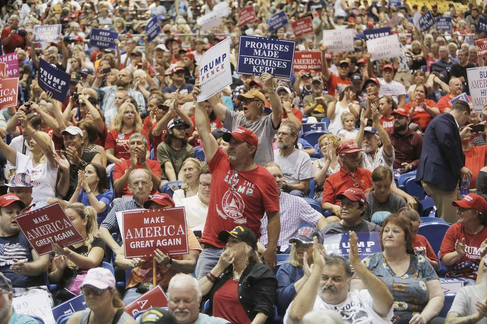 Supporters of President Donald Trump fill the stands during a rally at the Florida State Fairgrounds in Tampa on Tuesday. (OCTAVIO JONES | Times)