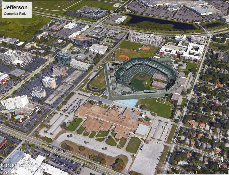 An image depicting what Comerica Park, home of the Detroit Tigers, would look like at the current location of Jefferson High School in Tampa. It is one of eight mockups of potential Tampa Bay Rays ballpark locations created last year by Hillsborough County. (Courtesy of Hillsborough County)