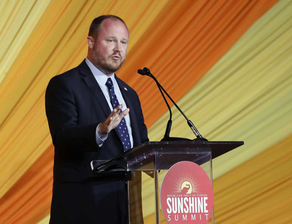 State Rep. Matt Caldwell, candidate for agriculture commissioner, speaks at the Republican Sunshine Summit Friday, June 29, 2018, in Kissimmee, Fla. (AP Photo/John Raoux)