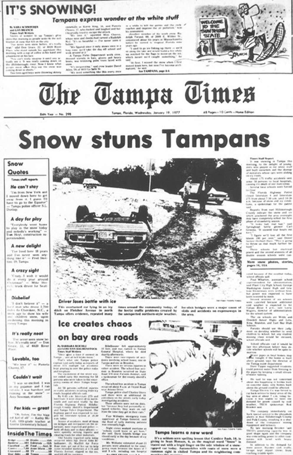Tampa residents express wonder at the white stuff. [Times archives]