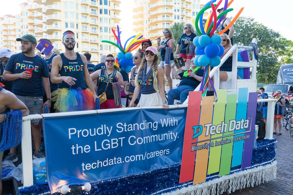 Tech Data's float in the 2017 St. Pete Pride Parade had about 100 employees and their friends and family. [Courtesy of Tech Data]
