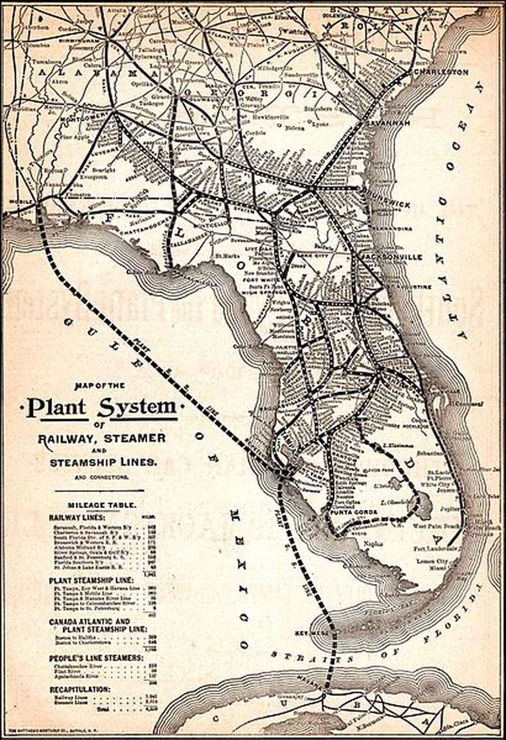A map of Henry Plant's railroad and steamship lines from 1895. Map from Travelers' Official Guide of the Railway and Steam Navigation Lines 1895.