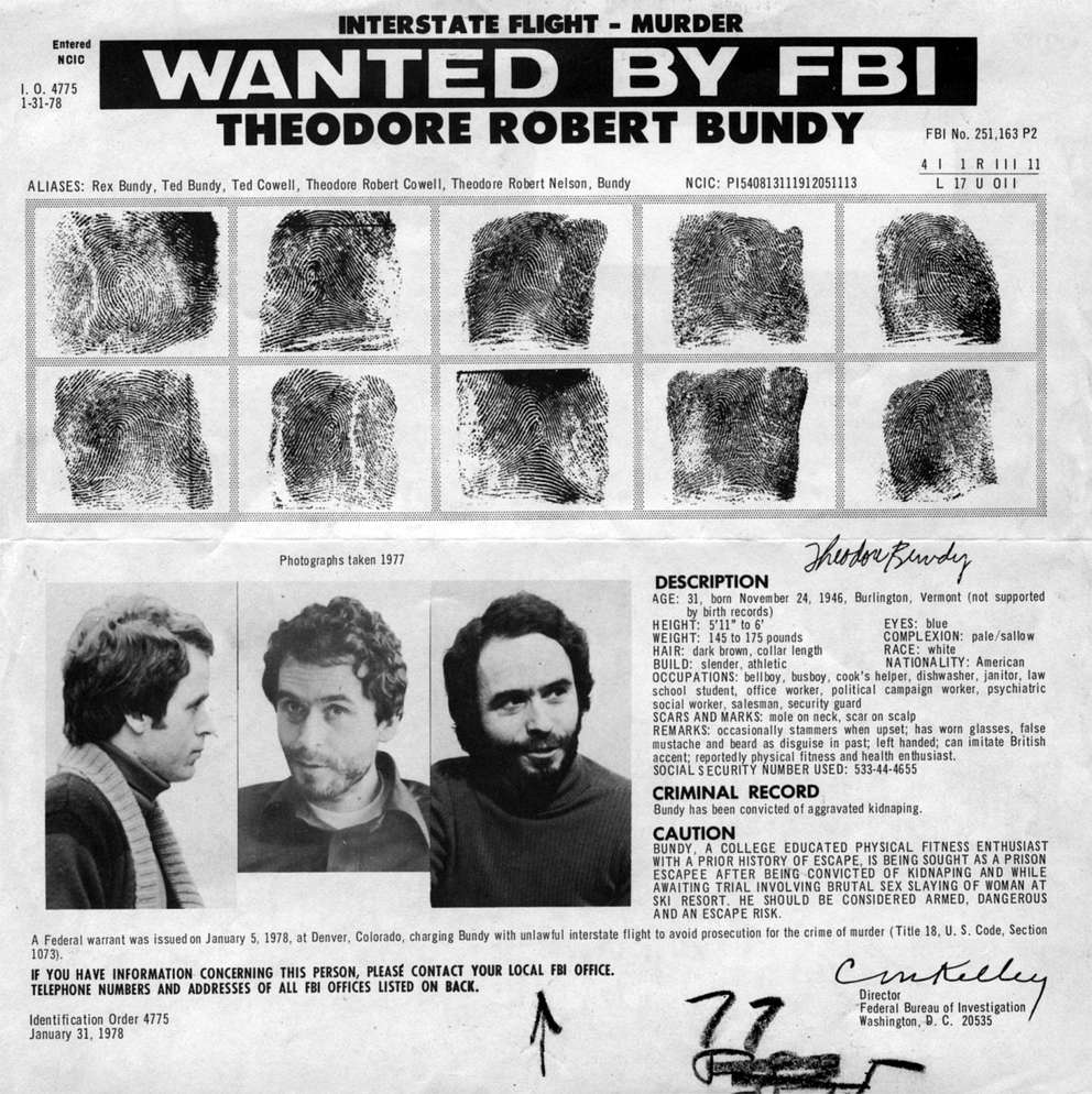 The FBI wanted poster for Theodore Robert Bundy, aka Ted Bundy. [1978 photo from Times files.]