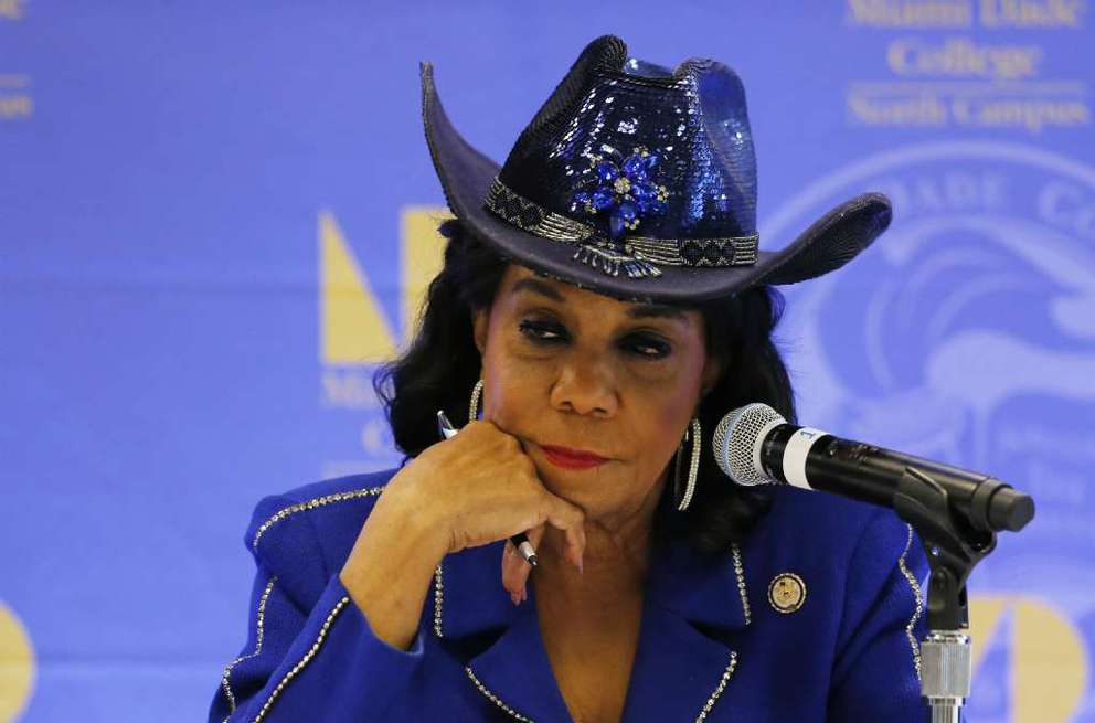 MIAMI, FL – OCTOBER 19: Rep. Frederica Wilson (D-FL) listens to testimony at a Congressional field hearing on nursing home preparedness and disaster response October 19, 2017 in Miami, Florida.