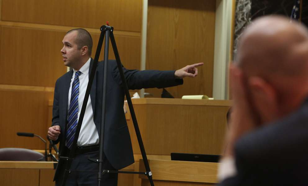 Prosecutor Paul Bolan points to defendant John Jonchuck during closing arguments. SCOTT KEELER | Times