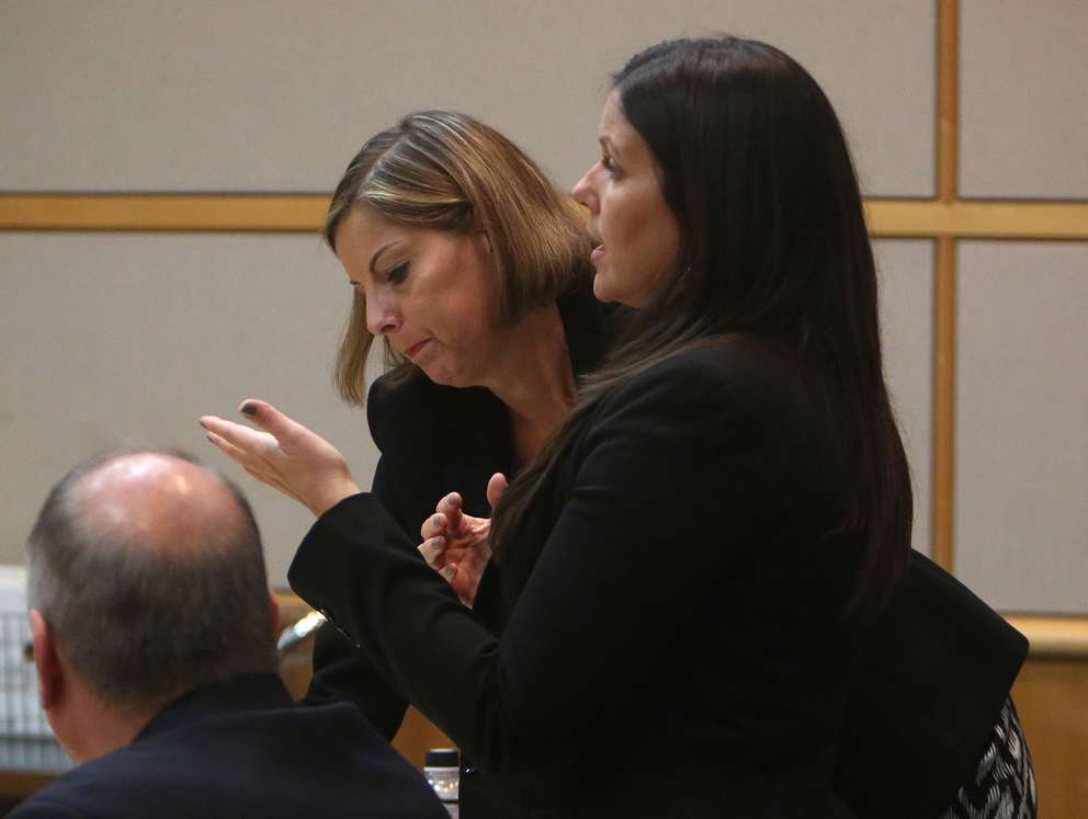 Defense attorney Jessica Manuele, right, raises concerns about the competency of her client, John Jonchuck, during his murder trial, Tuesday. SCOTT KEELER | Times