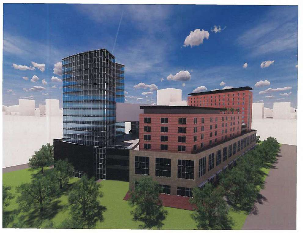 Rendering of a proposal to redevelop the old St. Petersburg Police Department facility submitted by Midtown Real Estate 1 FLP. It includes: -180 living units -150,000 square feet of office space -50,000 square feet of retail -500-space parking garage [City of St. Petersburg]