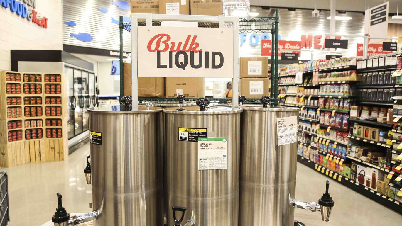 Bulk liquids like maple syrup and olive oil available for sale at the new Earth Fare grocery store in Seminole on Monday, September 26, 2016. The new grocery store is set to open on Wednesday, September 28 in Seminole City Center. [EVE EDELHEIT | Times]