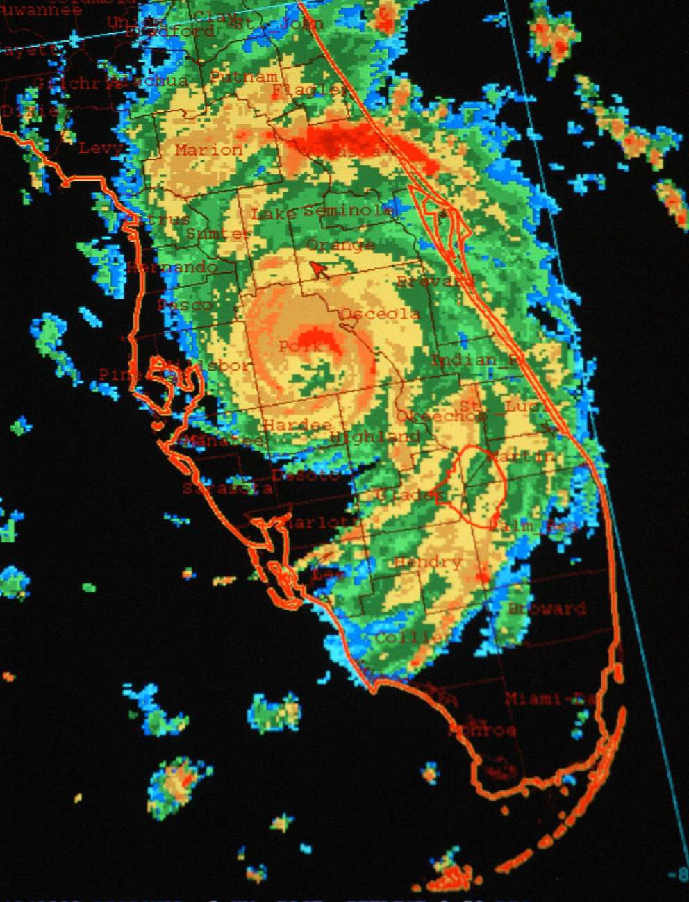This National Hurricane Center satellite image shows Hurricane Charley south of Orlando, Fla., moving north-northeast, in an image time-stamped at 7:32 p.m. EDT, Friday, Aug. 13, 2004. (AP Photo/National Hurricane Center)
