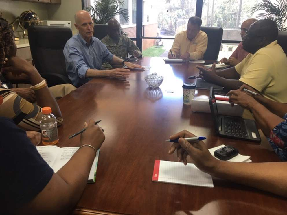 Gov. Rick Scott meets with Gadsden County officials in Quincy. Steve Bousquet, Tampa Bay Times