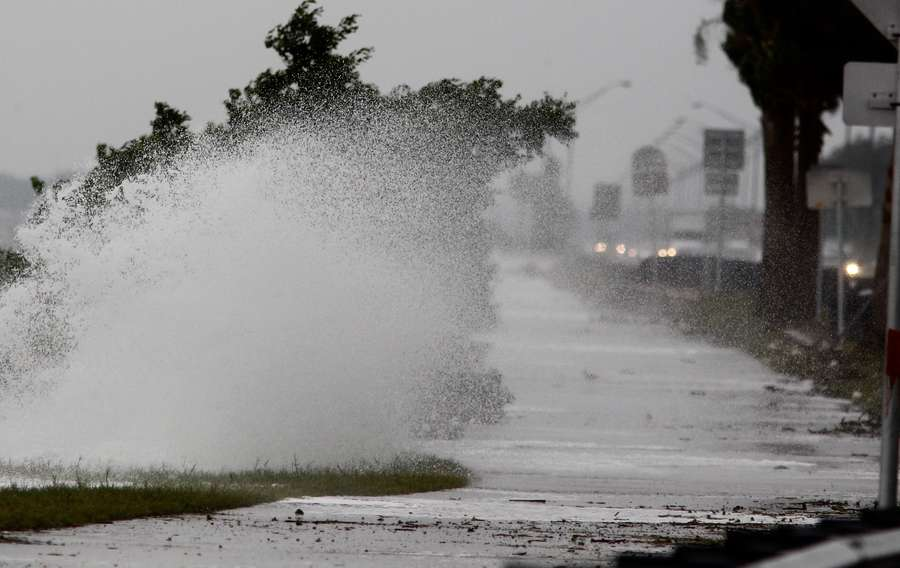 Waves crash against the Courtney Campbell Causeway Wednesday afternoon.