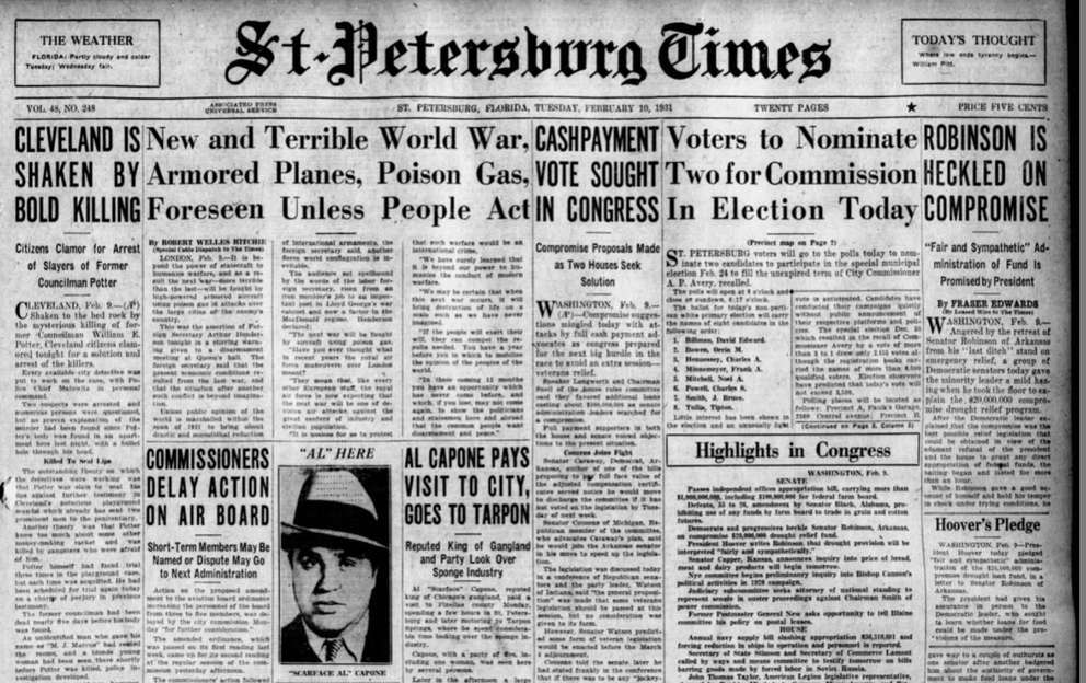 The front page of the St. Petersburg Times on February 10, 1931documents Capone's trip with a group of men and one women to Tarpon Springs.