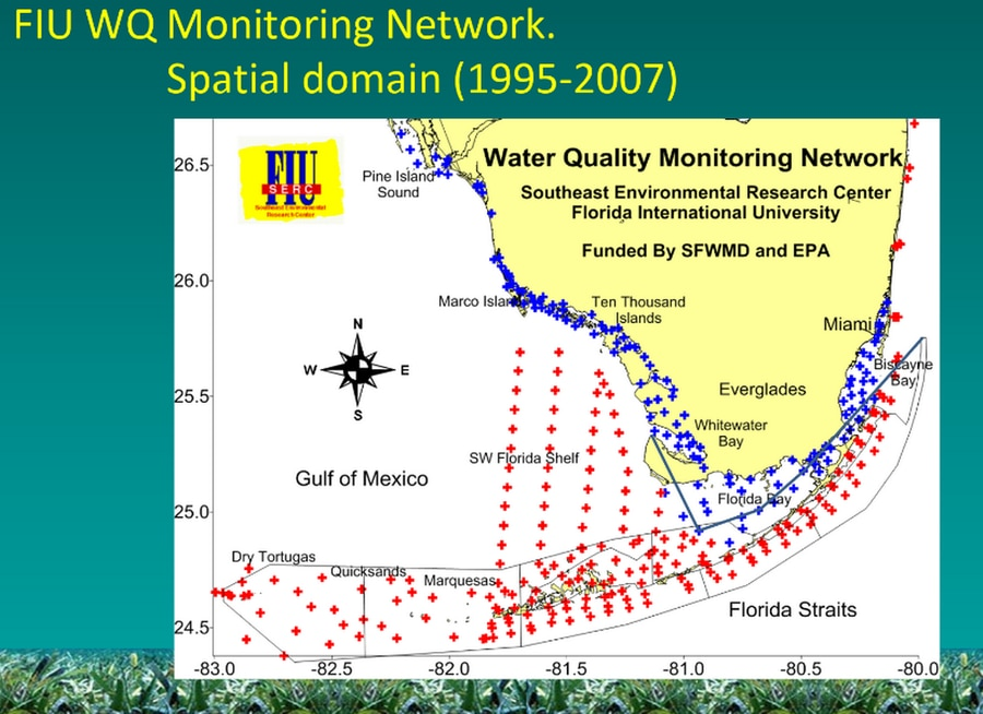 Beginning in 1995, a coastal monitoring network covered much of South Florida. The state paid for much of the coastal monitoring, marked in blue, while the Environmental Protection Agency funded stations marked in red.