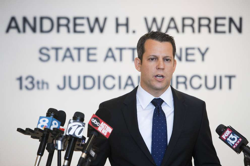 MONICA HERNDON | Times Hillsborough State Attorney Andrew Warren announced that he would seek the death penalty for Howell Donaldson III in the Seminole Heights murders, on January 23, 2018, at the State Attorney's Office in Tampa, Fla.