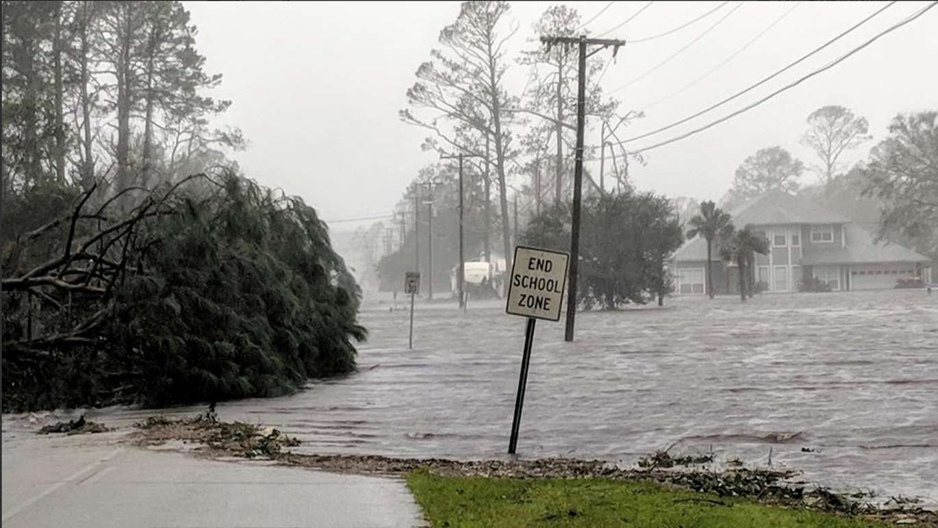 Storm surge floods 20th St in Port St. Joe on Wednesday morning after Hurricane Michael makes landfall in the Florida Panhandle. (Douglas R. Clifford, Times)