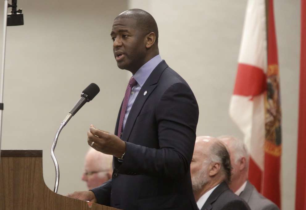 Tallahassee Mayor Andrew Gillum speaks at the meeting of the Tiger Bay Club at the Tucker Civic Center in Tallahassee on May 31, 2017. (Hali Tauxe/Tallahassee Democrat via AP)