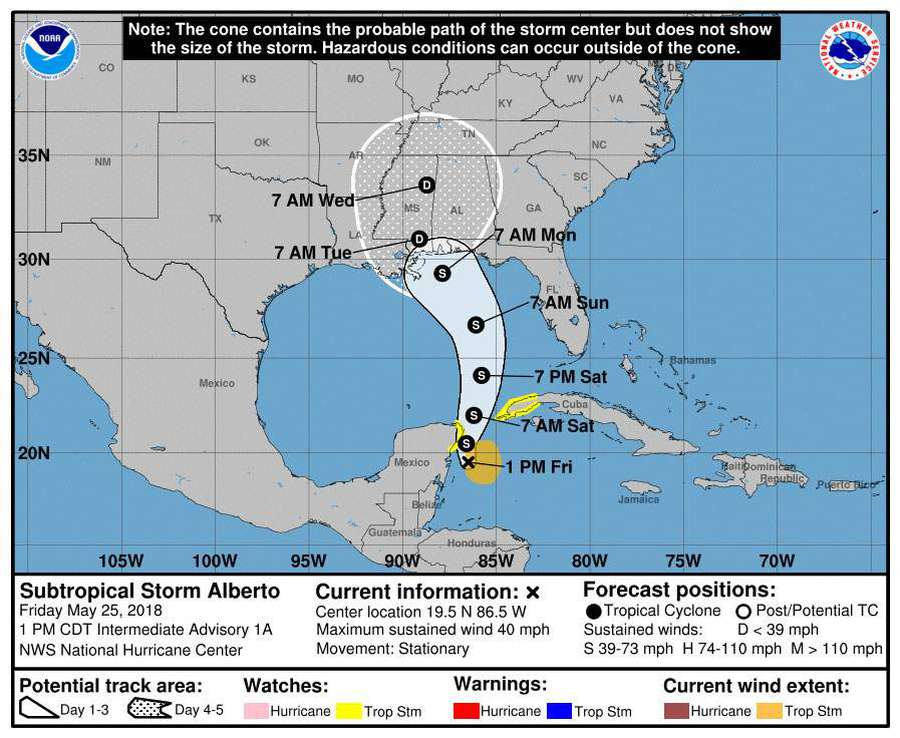 Subtropical Storm Alberto forms; expected to soak Florida