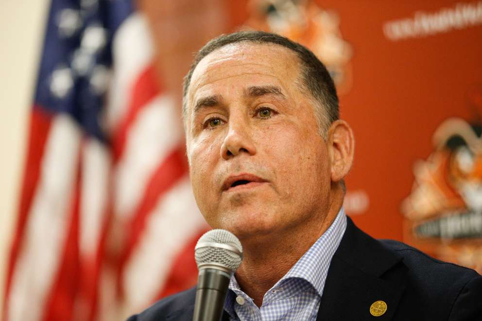 Miami Beach Mayor Philip Levine speaks at a Tampa Tiger Bay Club meeting at the Ferguson Law Center in Tampa on May 19, 2017. (LOREN ELLIOTT | Times )