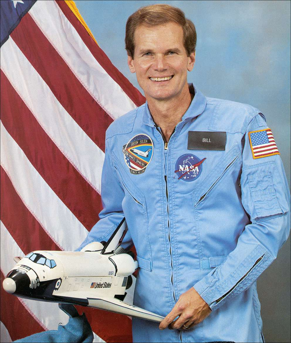 Nelson's office still provides this photo, which is also available in black and white. He went into space in 1986, when he was a Congressman. Though not an astronaut, Nelson trained for the mission and did experiments.