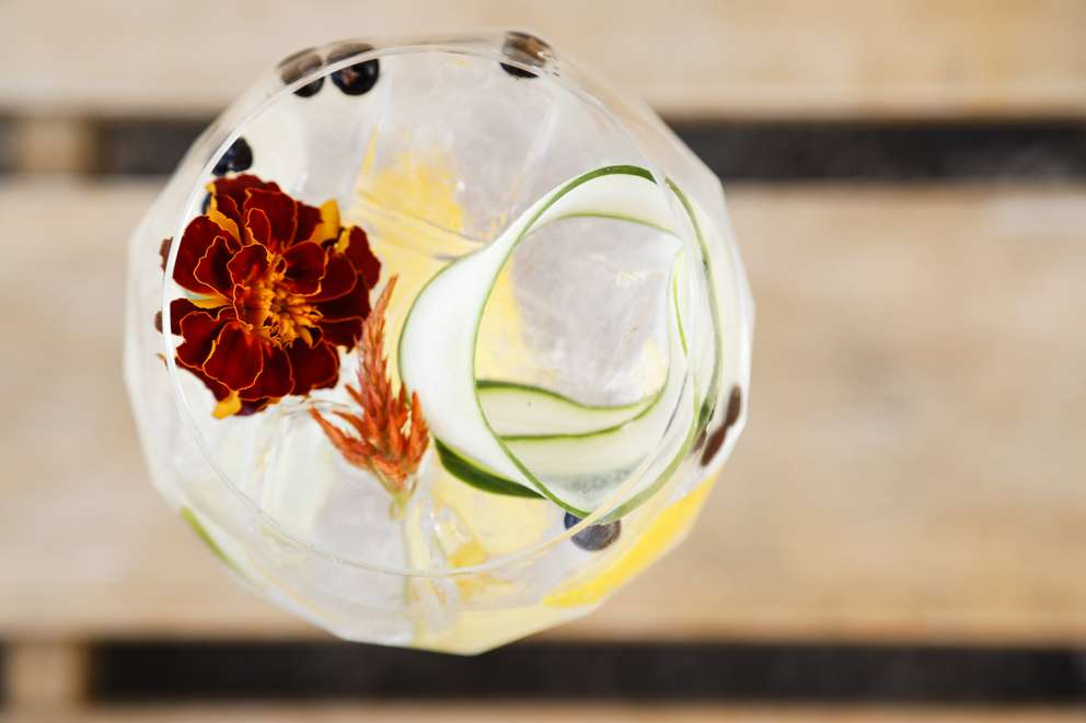 The Fin & Tonic cocktail, a Spanish style gin and tonic crafted with Hendricks Gin, Thatcher's Elderflower, citrus peel, juniper berries, cucumber and fresh flowers. [EVE EDELHEIT | Times]