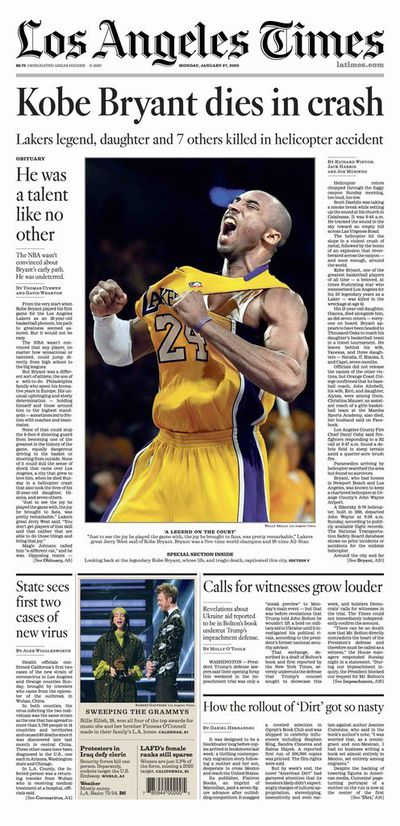 Newspaper Front Pages A Day After Kobe Bryant S Death