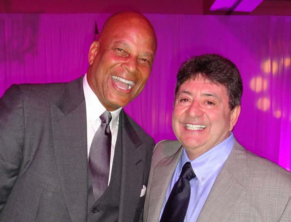 NFL great Ronnie Lott, left, who played 10 years with the San Francisco 49ers, enjoys a moment with former team owner Eddie DeBartolo Jr. during the annual All Star Charity Gala in Tampa. The charity event is sponsored by the DeBartolo Family Foundation. The DeBartolos and their associates have contributed at least $148,000 toward the election of Sheriff Chad Chronister. [AMY SCHERZER | Times (2016)]