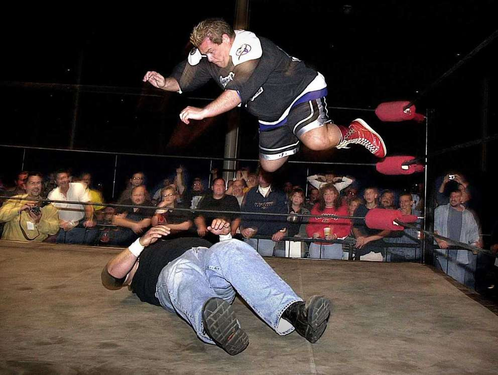 Bubba the Love Sponge participates in a wrestling match during his days as the morning host on 98 Rock, which lasted from 1996 to 2004. [Times files]