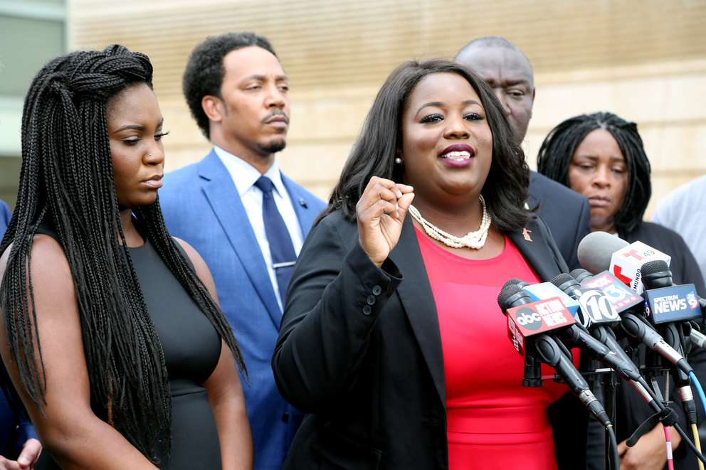 Clearwater lawyer Michele Rayner-Goolsby has sparred with the sheriff over several high-profile cases. Here, she speaks to the media the week after the fatal shooting at the convenience store. [DOUGLAS R. CLIFFORD | Times]