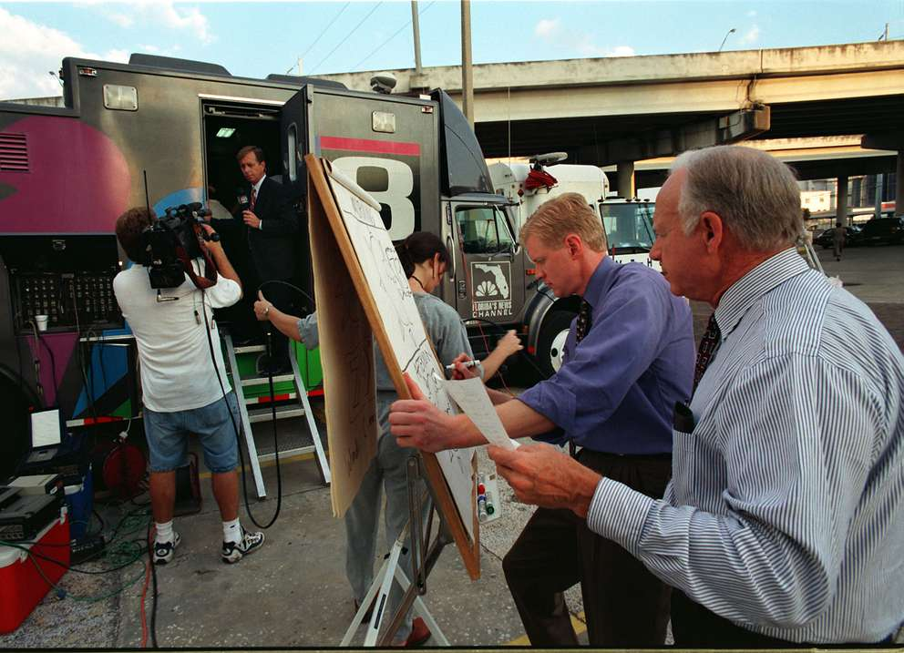 WFLA Channel 8 set up an outdoor studio in back of their building when they lost power in 1998. On the right, Steve Jerve and David Grant draw the graphics for their 5:00 pm weather show. [Fraser Hale | Times]