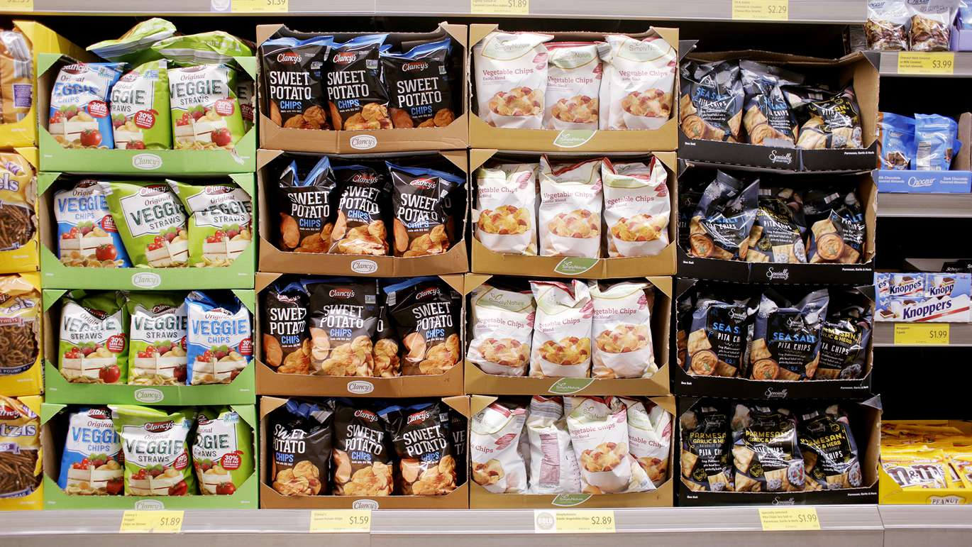 A variety of snack chips on sale at the Aldi store located on 1551 34th St N, St. Petersburg, Florida on Tuesday, July 17, 2018. [OCTAVIO JONES | Times]