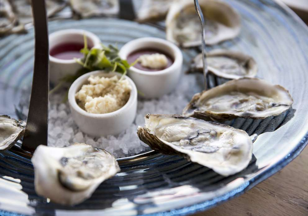 Oysters on the half shell on a seafood tower, photographed at Oystercatchers on January 18, 2018, in Tampa, Fla. MONICA HERNDON I Times (2018)