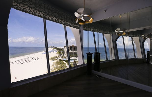 The view looking out at the beach from inside Spinners Rooftop Grille at the newly renovated Bellwether Beach Resort.