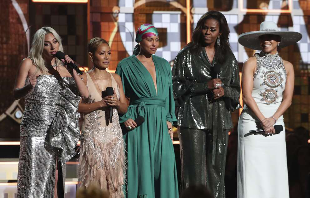 Lady Gaga, from left, Jada Pinkett Smith, Alicia Keys, Michelle Obama and Jennifer Lopez speak at the 61st annual Grammy Awards on Sunday, Feb. 10, 2019, in Los Angeles. [Matt Sayles | Invision/AP]