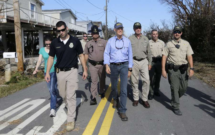 Scott reviews the damage in Big Pine Key in September.