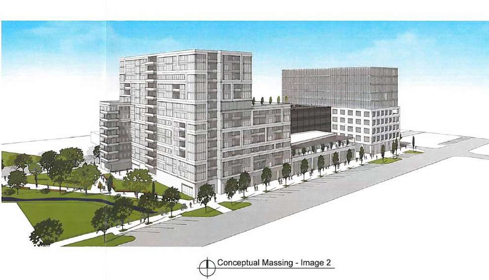 Rendering of a proposal to redevelop the old St. Petersburg Police Department facility submitted by Altis Cardinal. [City of St. Petersburg]
