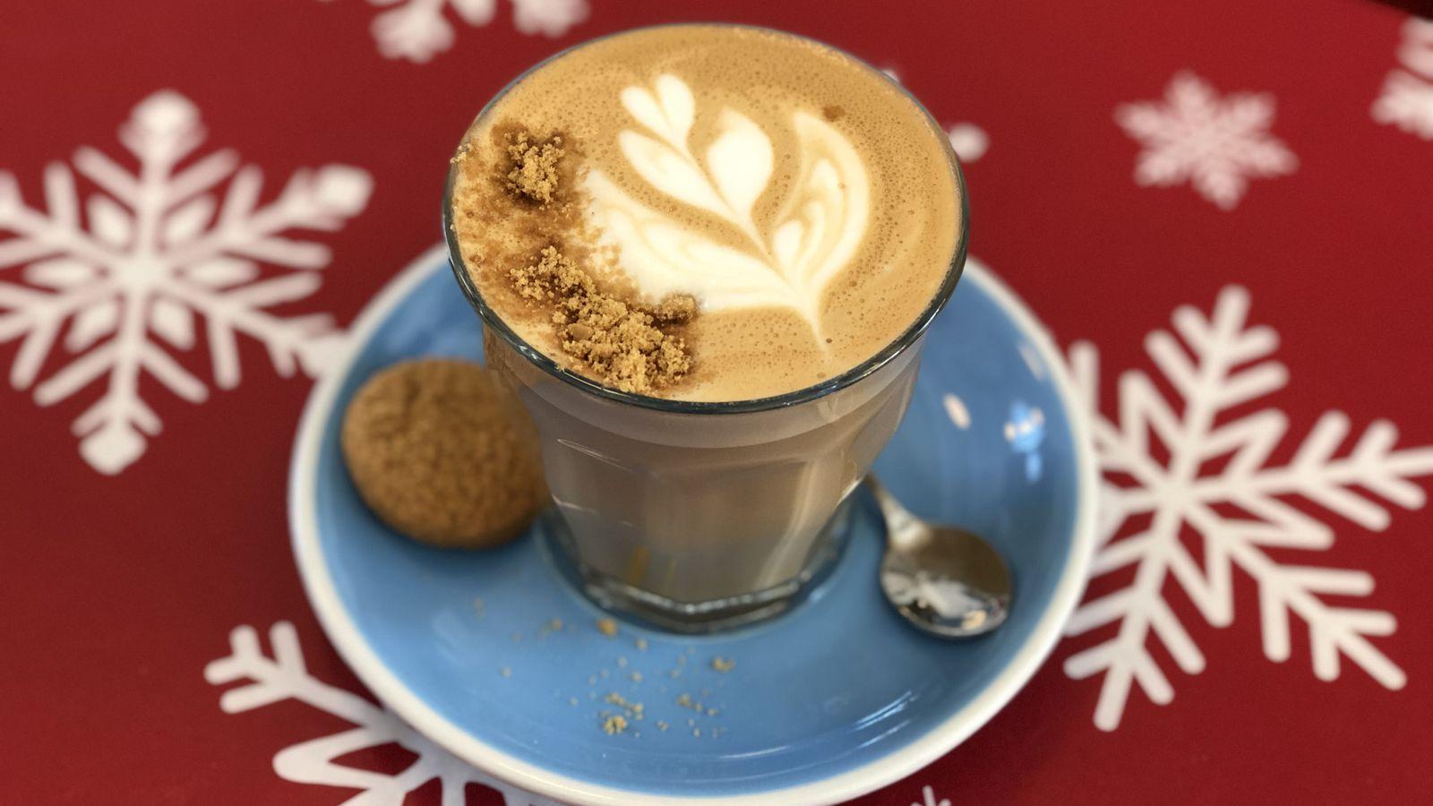 The gingerbread latte at Intermezzo Coffee.