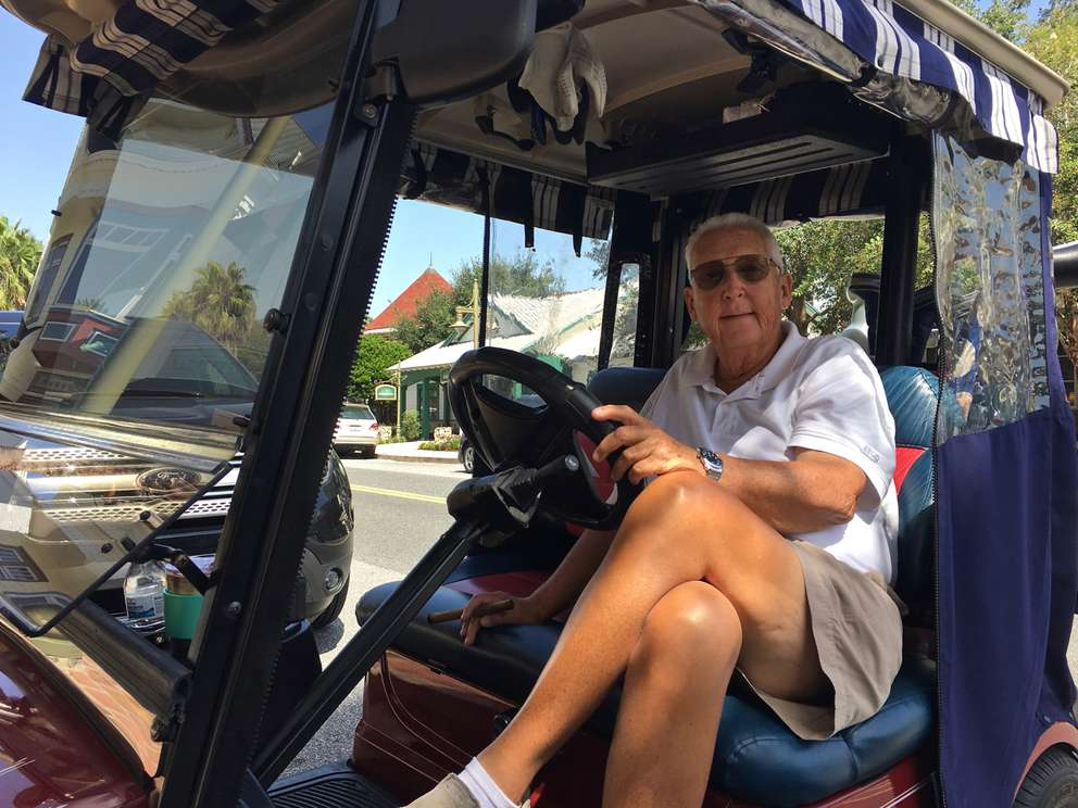 Phil Barefoot, 70, moved to The Villages from Delaware four years ago. His wife has vision problems but can get around in a golf cart. He's a Trump supporter -