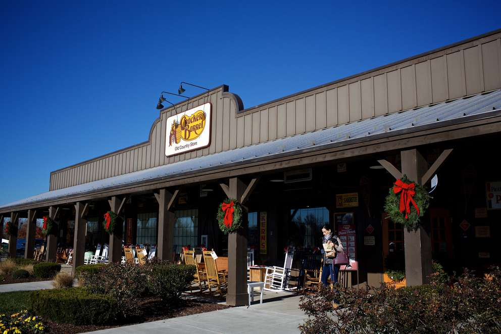 Cracker Barrels, including this one in Sterling, Virginia, feature homey touches and rocking chairs. [Photo by Deb Lindsey for the Washington Post]