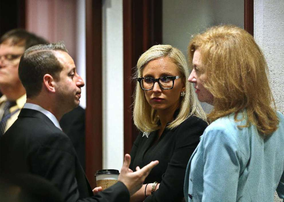 Rep. Kristin Jacobs, D-Coconut Creek (right) and Sen. Lauren Book, D-Plantation, (center) both were sponsors of bills to combat sexual harassment during the 2018 session. The bills failed. SCOTT KEELER | Times