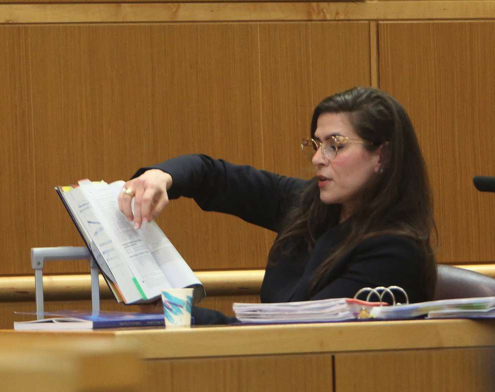 Psychiatrist Emily Lazarou points to the DSM-5 in court Wednesday. SCOTT KEELER | Times