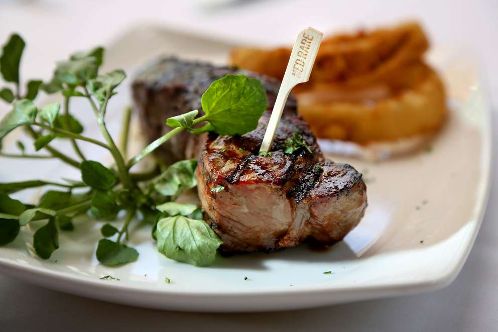 Available at Bob Heilman's Beachcomber on Clearwater Beach is a medium rare Sterling New York Strip, complete with a biodegradable temperature stick to reduce the restaurant's environmental footprint. (DOUGLAS R. CLIFFORD | Times)