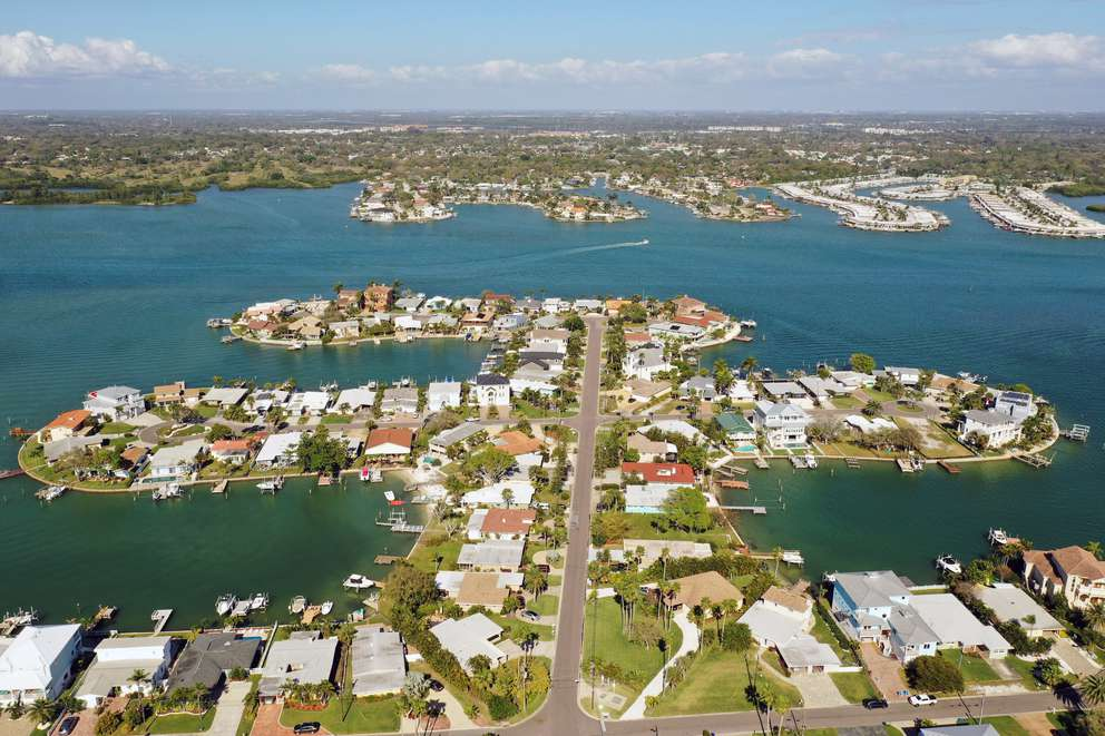 Aerial drone photo of the neighborhood in Reddington Beach. According to the National Oceanic and Atmospheric Administration, NOAA the town of Reddington Beach would be entirely flooded with a two-foot sea level rise. [Luis Santana | Times]