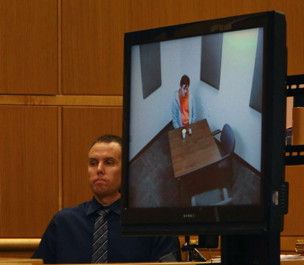 edd1c6f2ad A video screen shows defendant John Jonchuck in an interrogation room in  Manatee County after he