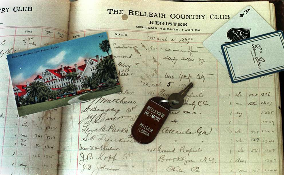 Old items from the former Belleair Country Club from the turn of the century include room keys, old post cards and playing cards with the resort's name on it. Times (1999)
