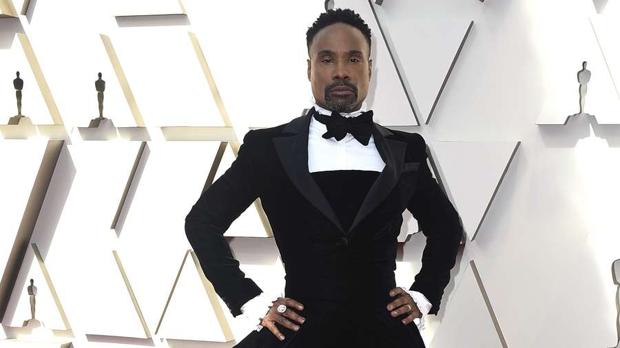52830a4dea416 Billy Porter was dressed in a custom tuxedo and a tuxedo ball gown  combined, by Christian Siriano. [Photo by Jordan Strauss/Invision/AP]