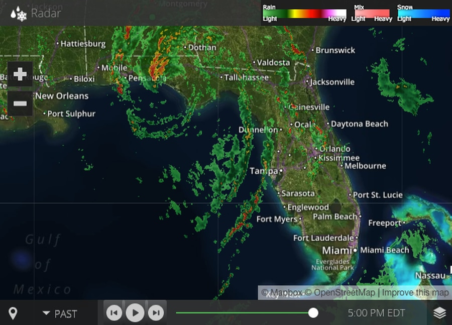 Radar image shows Subtropical Storm Alberto as it bears down on the Florida Panhandle as of 5:00 p.m. on Mon., May 28, 2018. [TBO]