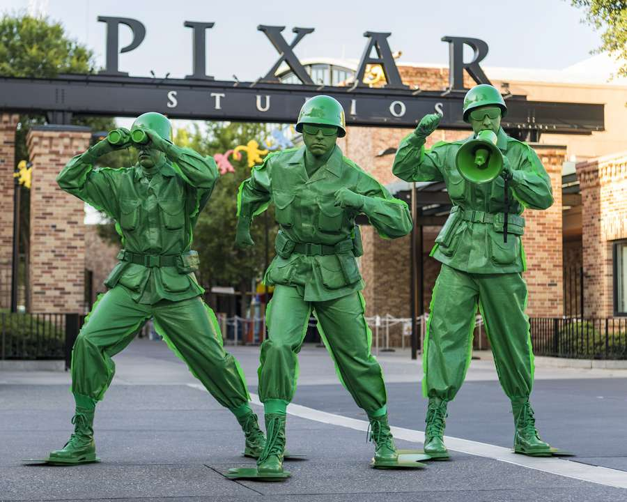 The Green Army Men from the Toy Story movies will interact with guests in the new Toy Story Land when it opens June 30, 2018 at Disney's Hollywood Studios in Lake Buena Vista, Fla. [Matt Stroshane/Walt Disney World via AP]